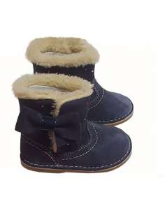 BOOTS IN SUEDE WITH PATENT BOW CITOS 3600 NAVY