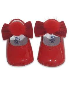 PRAM SHOES IN PATENT WITH VELVET FUR BOW CITOS 712 RED