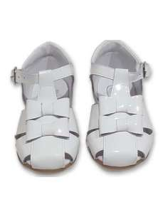 GIRLS SANDALS IN PATENT WITH DOUBLE BOW BAMBI 5217 WHITE