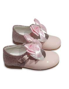 MARY JANES IN PATENT AND GLITTER WITH SATIN BOW BAMBI 5032 PINK