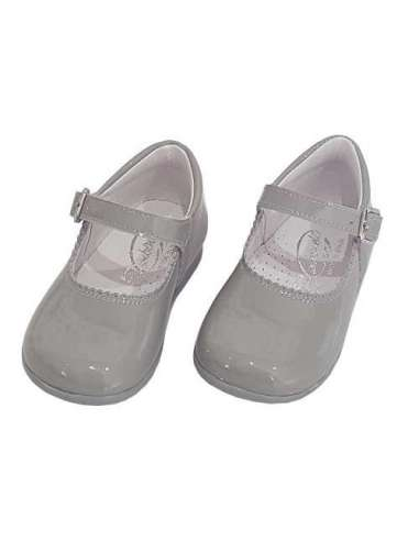 Baby Mary Janes in patent Bambi grey 457