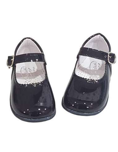 Baby Mary Janes in patent Bambi navy 457