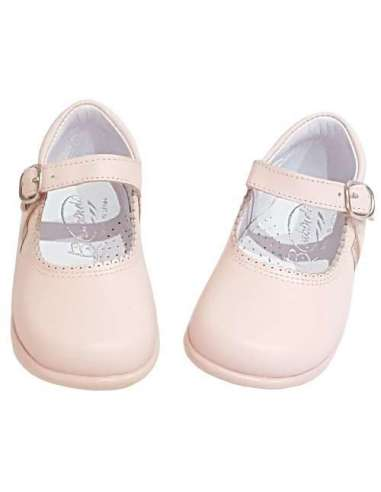 Baby Mary Janes in leather Bambi pink...