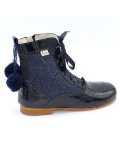 Glitter boots Bambi with pom pom navy 4956