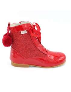 Glitter boots Bambi with pom pom red 4956