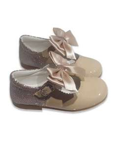 MARY JANES IN PATENT AND GLITTER WITH SATIN BOW BAMBI 5032 CAMEL