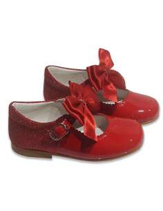MARY JANES IN PATENT AND GLITTER WITH SATIN BOW BAMBI 5032 RED