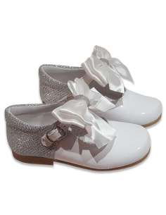 MARY JANES IN PATENT AND GLITTER WITH SATIN BOW BAMBI 5032 WHITE