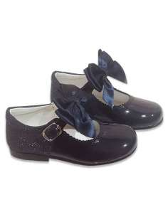 MARY JANES IN PATENT AND GLITTER WITH SATIN BOW BAMBI 5032 NAVY