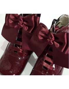 PATENT LEATHER BOOTS WITH BOW BAMBI 4253 BURGUNDY