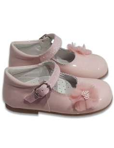 MARY JANES WITH GLITTER STRAP AND FLOWER 2131 PINK