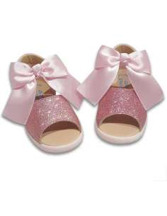 Sandals in Leather and bow AngelitoS 922 pink